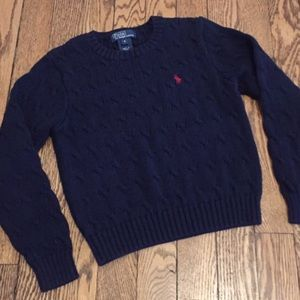 RL Navy Sz 6 Cotton Cable Knit Sweater